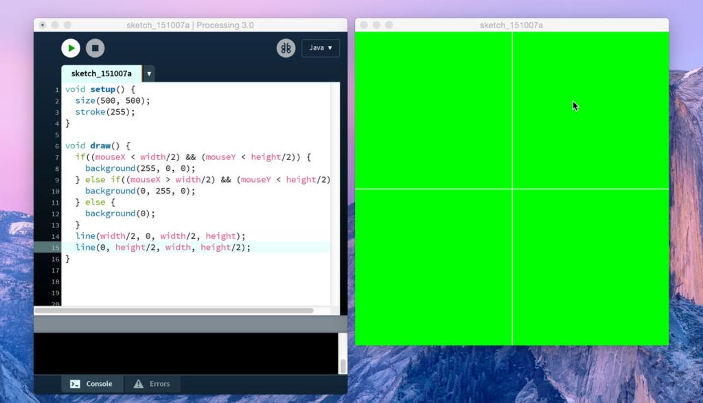 Utilizzo degli operatori logici in Processing