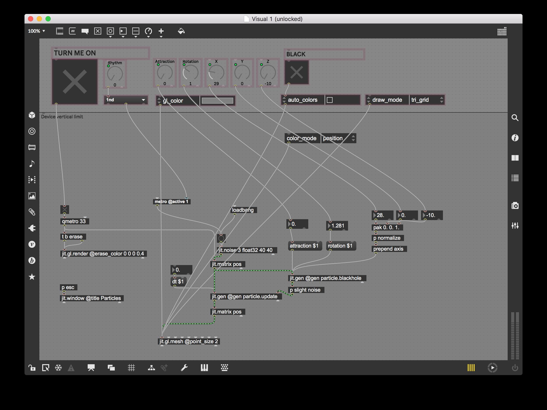 Screenshot di max contenente la patch di jitter