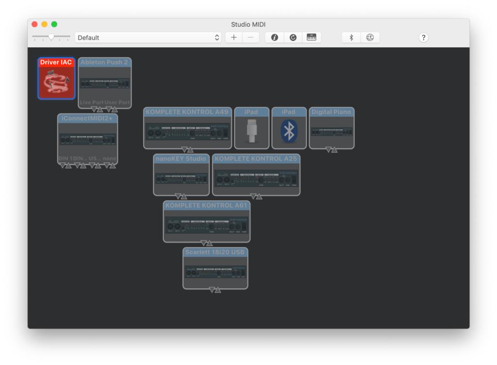 Schermata che rappresenta la finestra Studio MIDI dell'applicazione Configurazione Audio MIDI di macOS. Il driver IAC è selezionato.