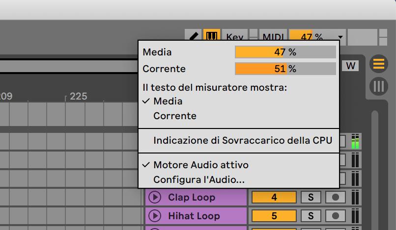 Uno screenshot che mostra il meter della CPU in Live 11