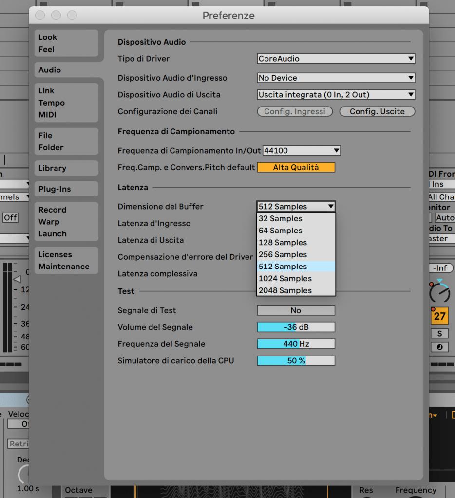 Screenshot che mostra il pannello delle preferenze di Ableton Live 11